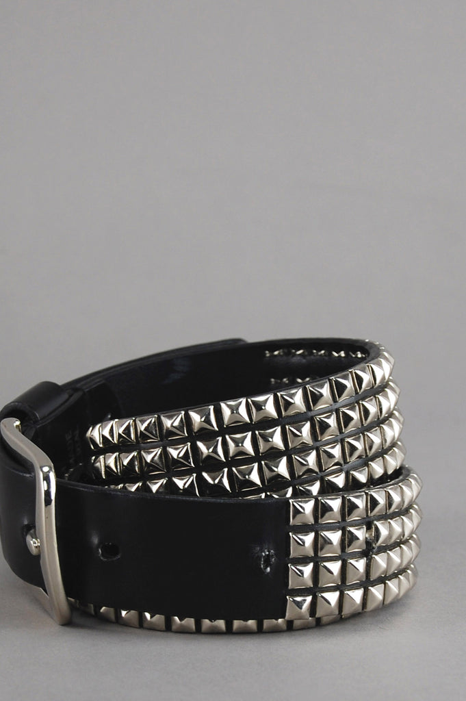 Vintage Black Silver Pyramid Studded Belt - One More Chance Vintage