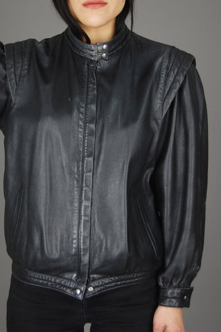 Vintage Black Spain Buttery Soft Leather Biker Moto Jacket - One More Chance Vintage
