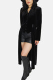 One More Chance Vintage - Vintage Night Wing Velvet Maxi Tuxedo Jacket Dress