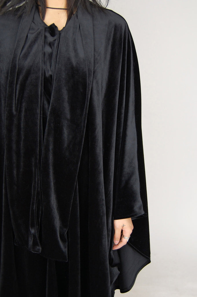 One More Chance Vintage - Vintage Lady In Black Velvet Poncho Cape