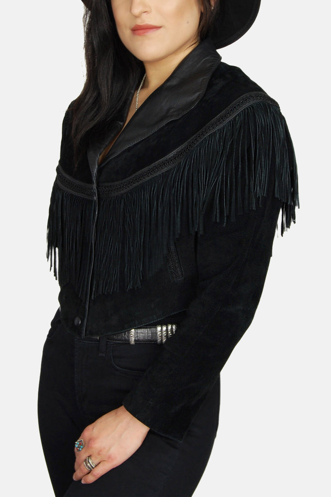 One More Chance Vintage - Vintage Wilson's Fringe Crop Leather Jacket