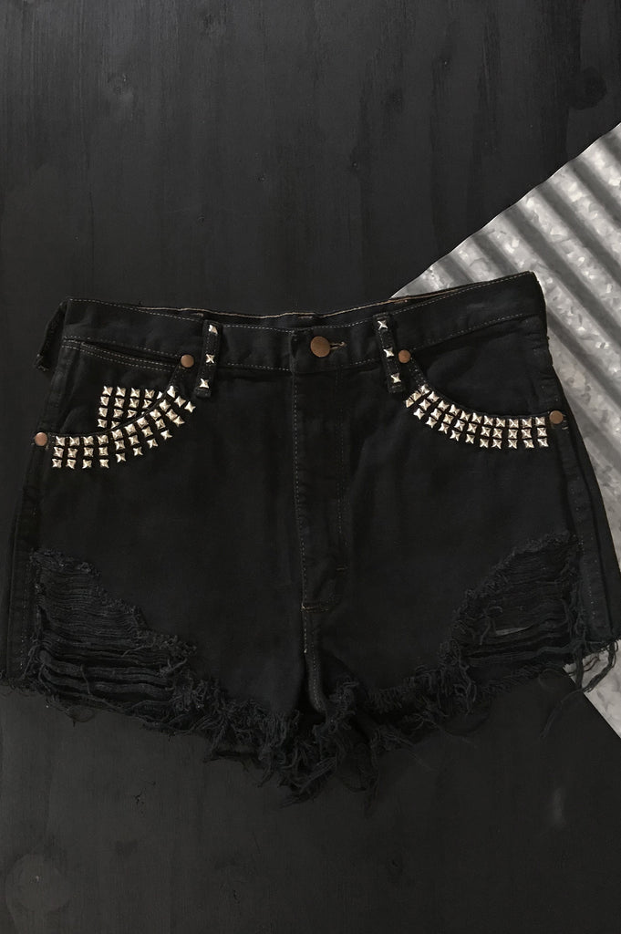 Wrangler Distressed Studded Denim Shorts
