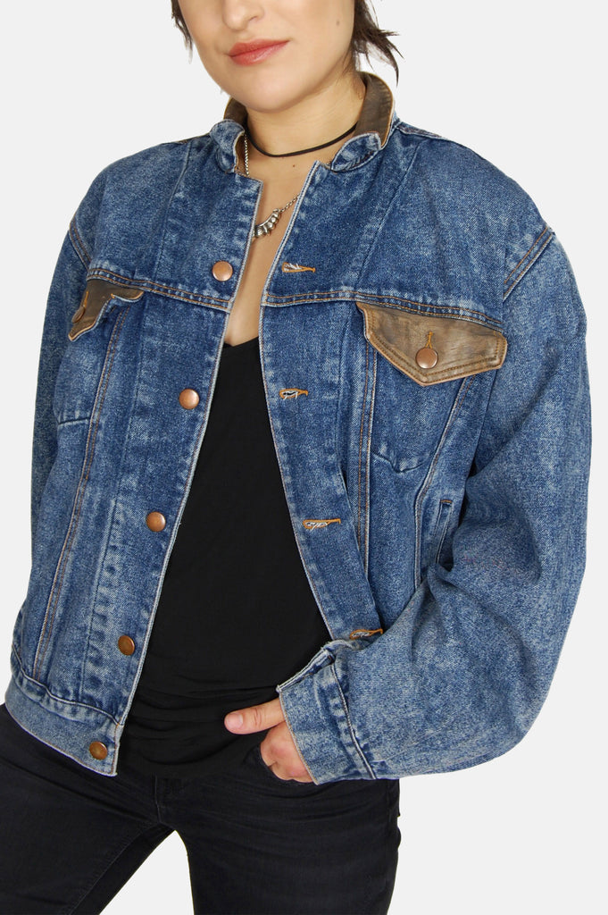 Driftin' Blues Acid Wash Leather Denim Jacket