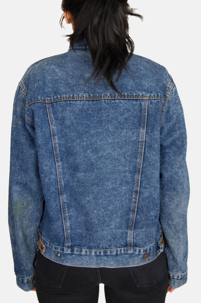 One More Chance Vintage - Vintage Driftin' Blues Acid Wash Leather Denim Jacket