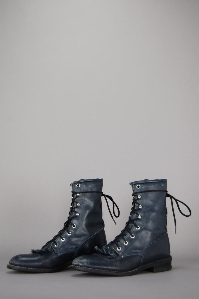 One More Chance Vintage - Vintage Wrangler Justin Lace Up Leather Ankle Boots