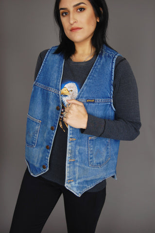 One More Chance Vintage - Vintage Blues For Mama Wrangler Sherpa Denim Vest