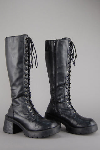 Bad Reputation Bongo Knee High Platform Lace Up Boots