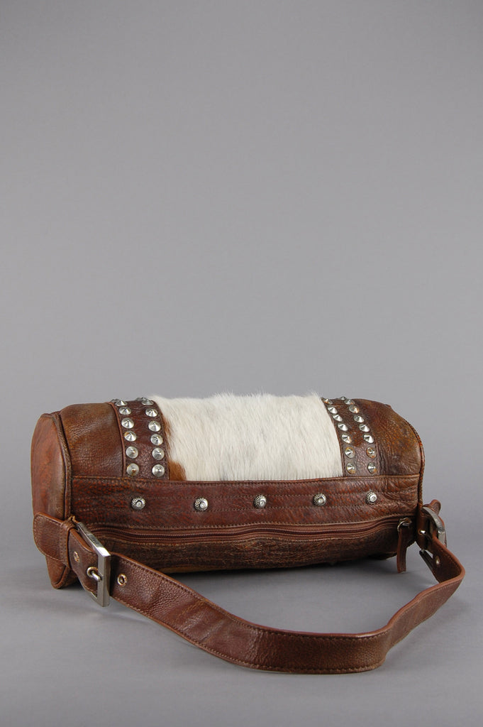 One More Chance Vintage - Vintage Distressed Calf Leather Studded Duffle Bag