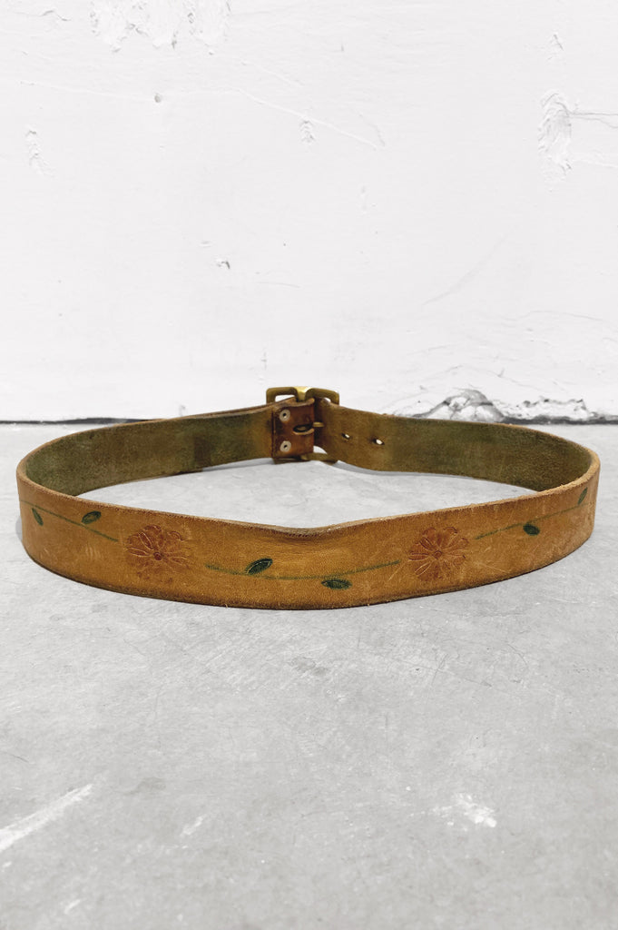 Vintage Distressed Hand Painted Floral Tooled Leather Belt - One More Chance Vintage