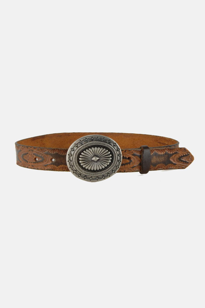 One More Chance Vintage - Vintage Rosie Floral Tooled Leather Concho Belt