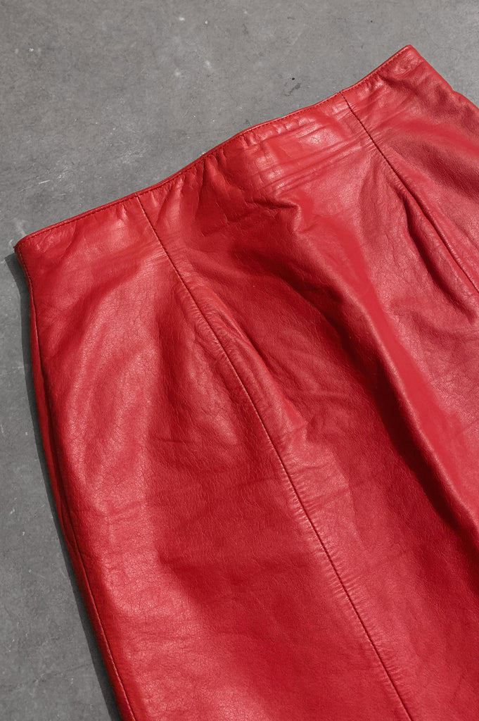 Light My Fire CHIA High Waisted Red Leather Skirt - Size 26 - One More Chance Vintage