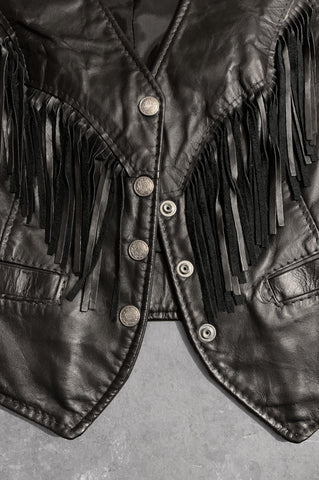 Vintage Let It Rock Black Fringe Leather Biker Vest - One More Chance Vintage