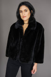 One More Chance Vintage - Vintage Midnight Faux Fur Jacket