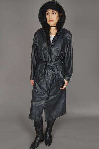 One More Chance Vintage - Vintage Charles Klein Black Leather Hooded Belted Maxi Coat