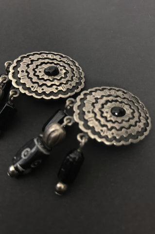 Black Jewel Concho Beaded Earrings