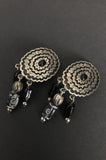 One More Chance Vintage - Vintage Black Jewel Concho Beaded Earrings