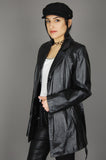 Vintage Classic Directions Leathers Black Belted Trench Faux Fur Lined Belted Jacket - One More Chance Vintage