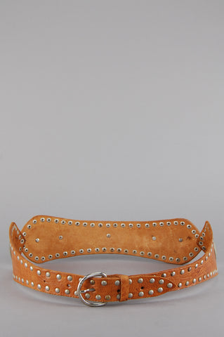 One More Chance Vintage - Vintage Golden Years Moroccan Studded Leather Belt