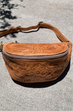 Vintage Delia's Floral Tooled Cognac Brown Leather Fanny Pack Bag - One More Chance Vintage