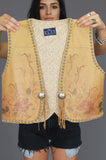 Pure West Hand Painted Fringe Studded Leather Vest