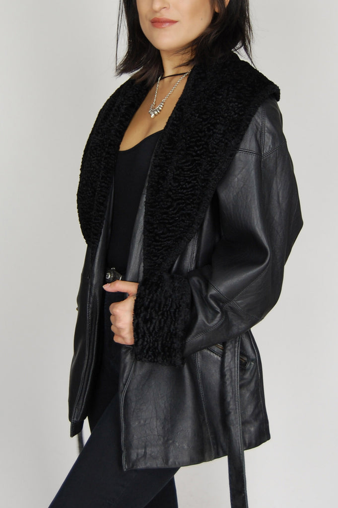 One More Chance Vintage - Vintage One More Night Belted Fur Collar Leather Jacket