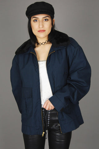 Vintage Dark Blue Fur Collar Ultra Bomber Flight Jacket - One More Chance Vintage