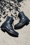 Justin Lace Up Leather Ankle Boots in Blue - Size 6 - One More Chance Vintage