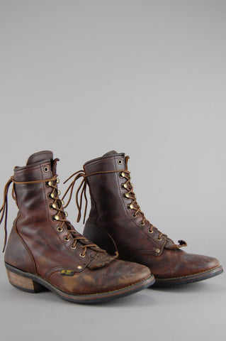 Vintage Dark Brown Ad Tec Leather Lace Up Leather Roper Ankle Boots - One More Chance Vintage