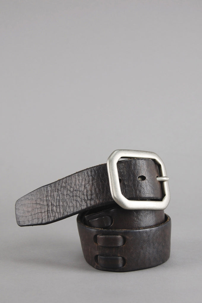 Vintage Dark Brown Lucky Brand Wide Italian Leather Moto Belt - One More Chance Vintage