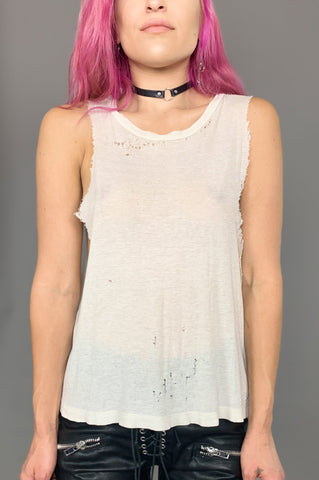 Vintage Beat It Thrashed White Muscle Tank Tee - One More Chance Vintage