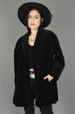 Vintage Dumas Black Velvet Draped Coat Jacket - One More Chance Vintage