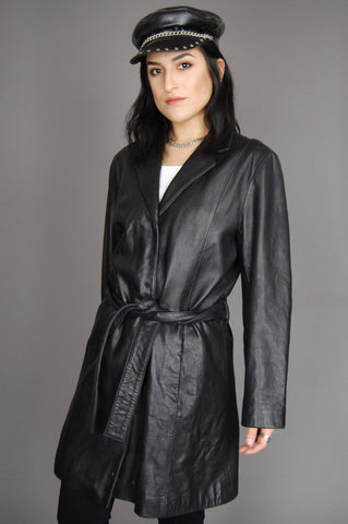 One More Chance Vintage - Vintage Night Life Belted Soft Leather Trench Jacket
