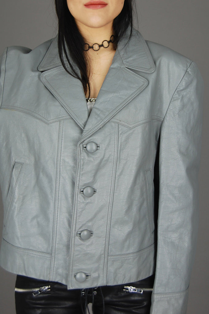 Vintage Espana Spain Barcelona Gray Leather Jacket - One More Chance Vintage