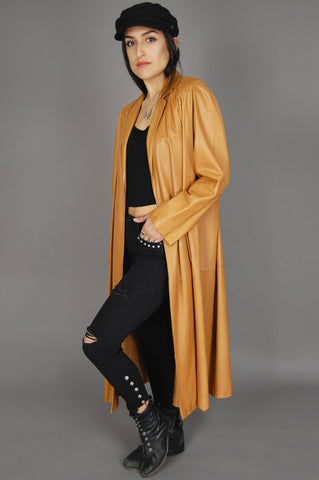One More Chance Vintage - Vintage Furs Ettex Paris France Cognac Camel Leather Maxi Trench Coat