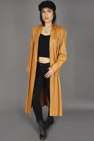Goldie Soft Mexican Two Tone Leather Trench Coat