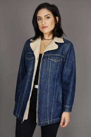 One More Chance Vintage - Vintage Country Girl Denim Sherpa Jacket