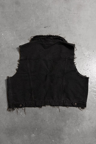 Easy Livin' Black Distressed Cut Off Denim Vest - One More Chance Vintage