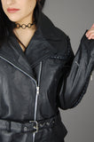 Vintage Green Channel Black Braided Leather Belted Moto Biker Jacket - One More Chance Vintage