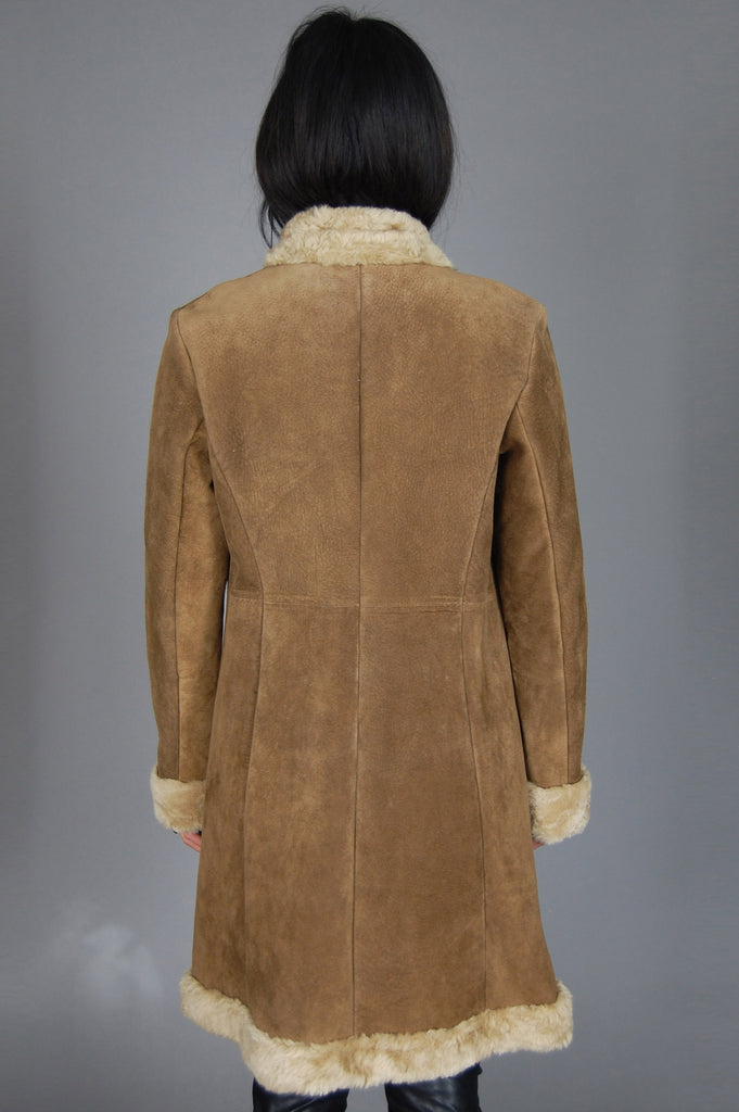 Guess Shearling Embroidered Suede Leather Coat - One More Chance Vintage