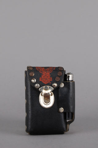 One More Chance Vintage - Vintage Harley Davidson Studded Leather Cigarette & Lighter Case