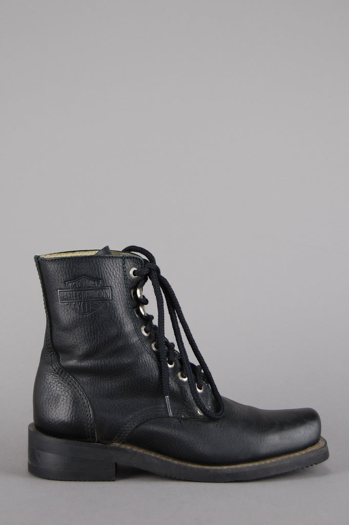 One More Chance Vintage - Vintage Harley Davidson Lace Up Leather Ankle Boots