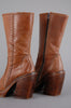 One More Chance Vintage - Vintage HEX Italian Leather Whipstitch Pointed Platform Boots