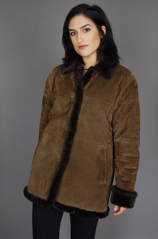 One More Chance Vintage - Vintage Keep On Walking Faux Fur Suede Leather Jacket