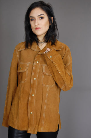 Texas Woman Suede Leather Rancher Shirt Jacket