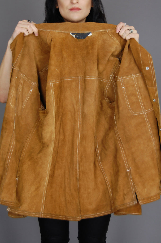 One More Chance Vintage - Vintage Texas Woman Suede Leather Rancher Shirt Jacket