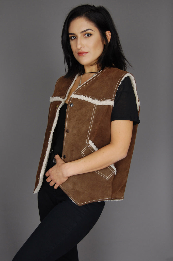 One More Chance Vintage - Vintage Goin' Out West Sherpa Suede Leather Vest
