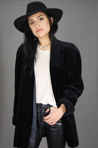 One More Chance Vintage - Vintage JS Collection Black Velvet Draped Coat Jacket