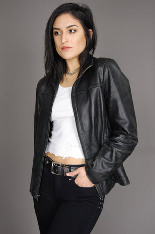 City Night Soft Distressed Leather Jacket