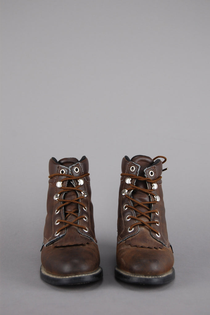 One More Chance Vintage - Vintage Walk Away Justin Leather Ankle Boots