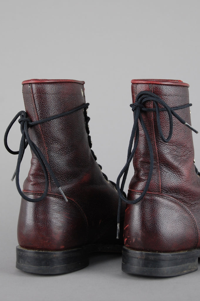 One More Chance Vintage - Vintage Justin Lace Up Leather Ankle Boots